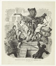 07. «La corona sia spezzata e distribuita a tutto il popolo, al quale appartiene di diritto», Tom Paine, 1776. The Sons of Liberty topple the statue of King George III in Bowling Green Park,New York City, July 1776 (1859). New York Public Library Digital Gallery, New York City.